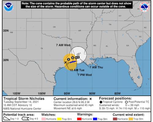 Nicholas Threatens Flooding In Texas, Louisiana After Making Landfall As A Hurricane