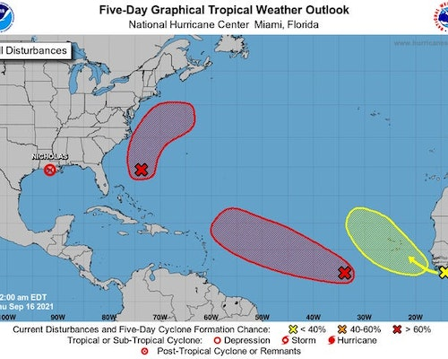 As Nicholas Stalls Over Louisiana, Three Potential Storms Are Crowding The Atlantic